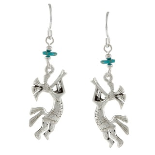 Southwest Moon Silvertone Turquoise Chip Kokopelli Earrings