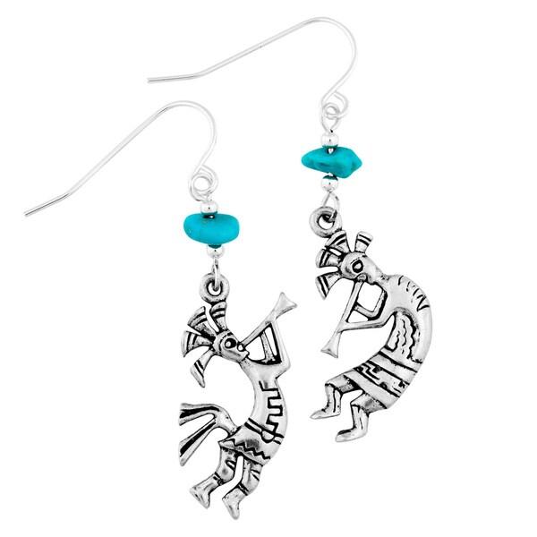 Southwest Moon Silvertone Turquoise Chip Kokopelli Earrings