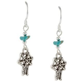 Southwest Moon Liquid Metal Turquoise Chip Dreamcatcher Loop Earrings