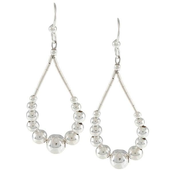 Southwest Moon Liquid Metal Graduated Bead Loop Earrings