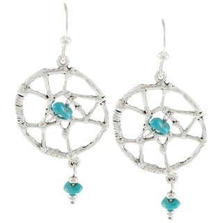 Southwest Moon Silvertone Turquoise Chip Large Dreamcatcher Earrings