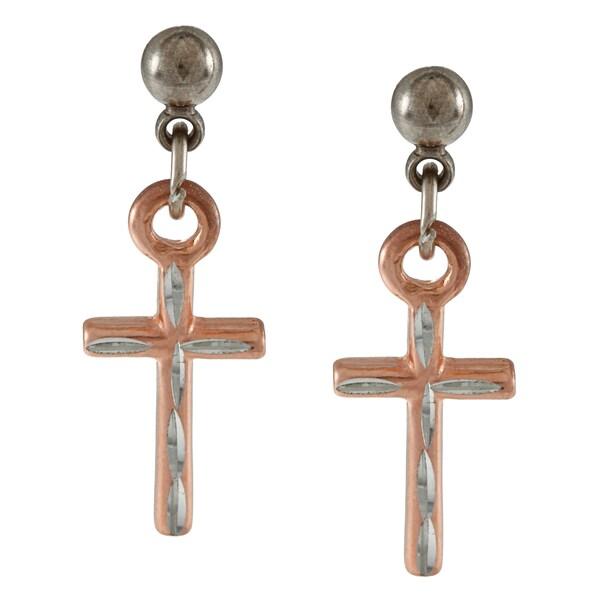 Southwest Moon Two-tone Diamond-cut Cross Earrings