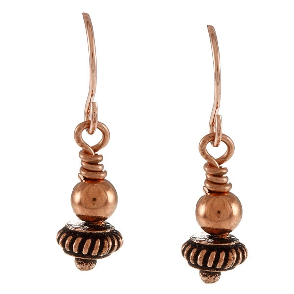 Southwest Moon Copper Multi-bead Earrings
