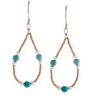 Southwest Moon Liquid Copper Blue Turquoise Loop Earrings