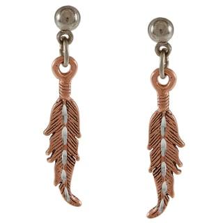 Southwest Moon Copper Diamond-cut Feather Earrings