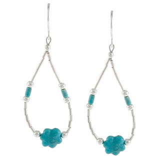 Southwest Moon Liquid Metal Turquoise Flower Loop Earrings