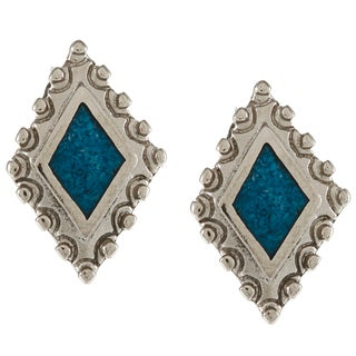 Southwest Moon Silvertone Turquoise Inlay Diamond-shaped Post Earrings