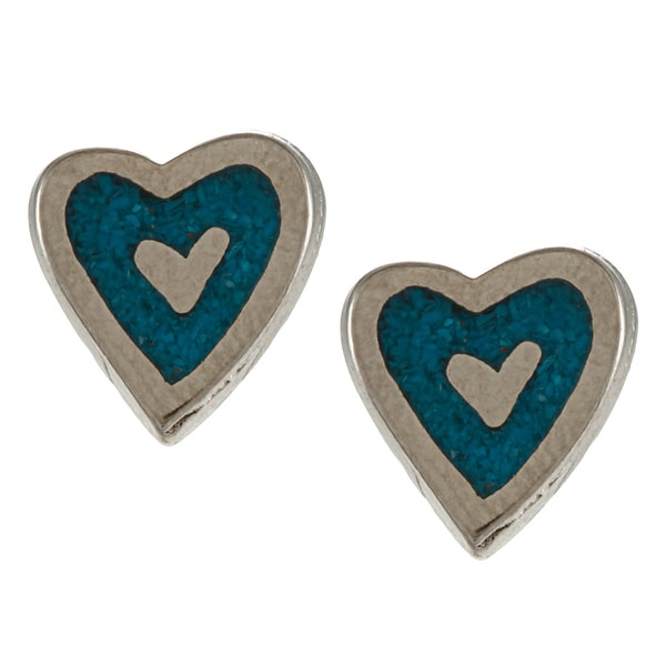 Southwest Moon Silvertone Turquoise Inlay Heart Outline Post Earrings
