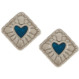 Southwest Moon Silvertone Turquoise Inlay Diamond-shaped Heart Earrings