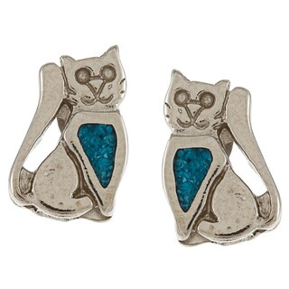 Southwest Moon Silvertone Turquoise Inlay Sitting Cat Post Earrings