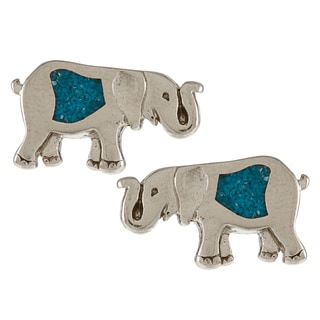 Southwest Moon Silvertone Turquoise Inlay Elephant Post Earrings