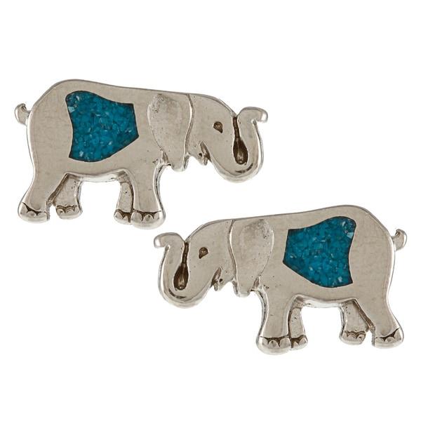 Southwest Moon Silvertone Turquoise Inlay Elephant Post Earrings