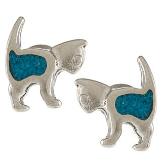 Southwest Moon Silvertone Turquoise Inlay Cat Post Earrings