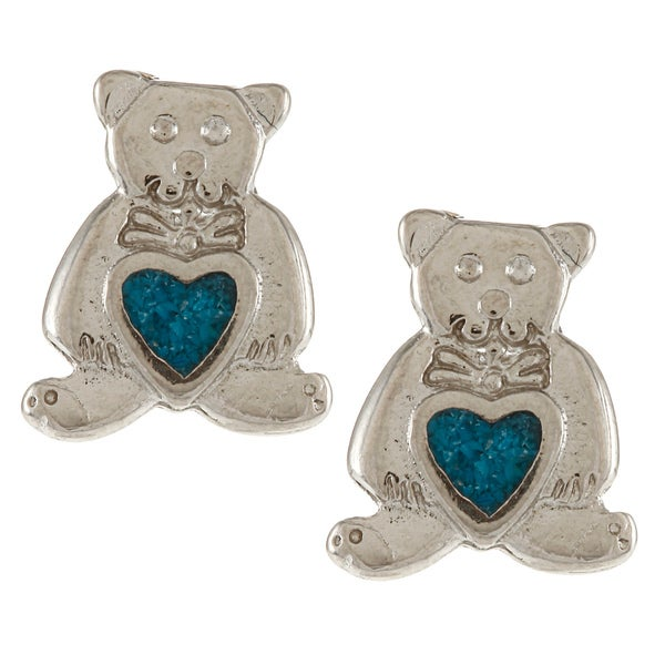 Southwest Moon Silvertone Turquoise Inlay Teddy Bear Heart Earrings