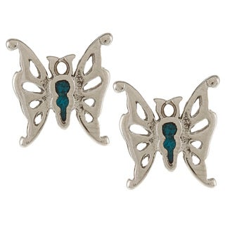 Southwest Moon Silvertone Turquoise Inlay Filigree Butterfly Post Earrings