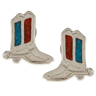 Southwest Moon Silvertone Turquoise and Synthetic Coral Cowboy Boot Earrings