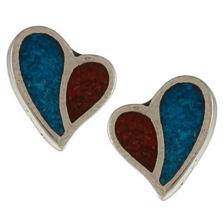 Southwest Moon Silvertone Turquoise and Synthetic Coral Heart Stud Earrings