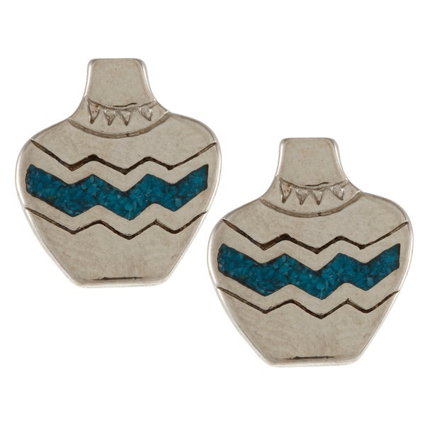 Southwest Moon Silvertone Turquoise Inlay Pottery Jar Post Earrings