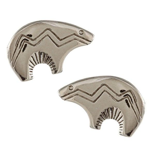 Southwest Moon Silvertone Bear Fetish Post Earrings