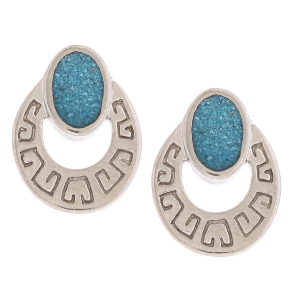 Southwest Moon Doorknocker Turquoise Inlay Post Earrings