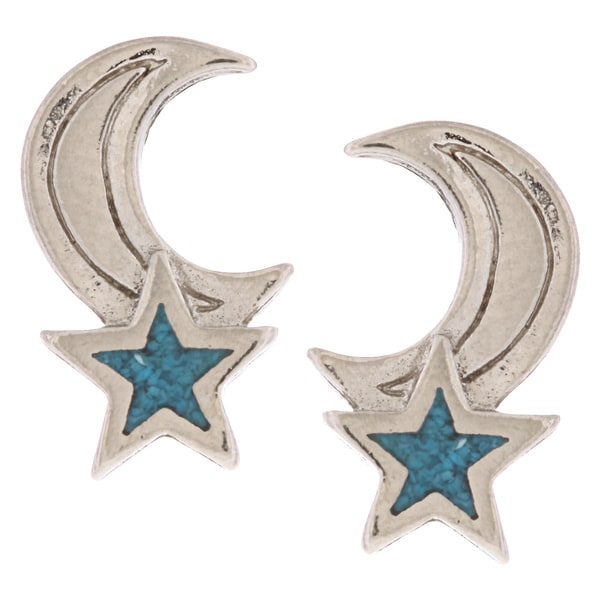 Southwest Moon Moon and Star Turquoise Inlay Post Earrings
