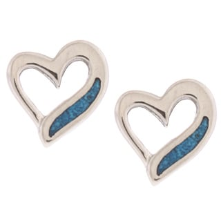 Southwest Moon Swirl Heart Turquoise Inlay Post Earrings