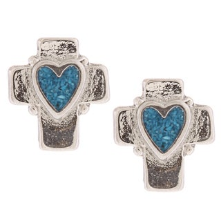 Southwest Moon Heart Turquoise Inlay Cross Post Earrings