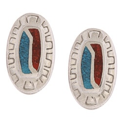 Southwest Moon Oval Turquoise and Coral Inlay Post Earrings