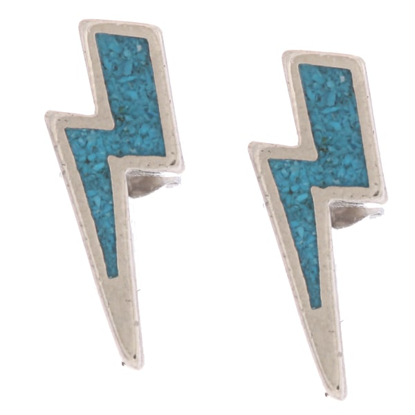 Southwest Moon Lightning Bolt Turquoise Inlay Post Earrings