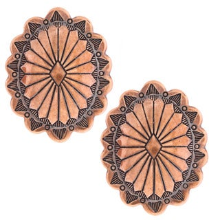 Southwest Moon Copper Concho Post Earrings