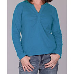 Blue Dickies Ladies Split 'V' Long Sleeve Top