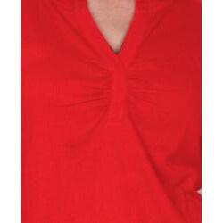 Red Dickies Ladies Split 'V' Long Sleeve Top