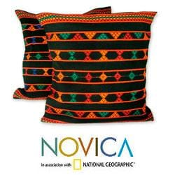 Set of 2 Cotton 'Summer Jazz' Cushion Covers  (India)