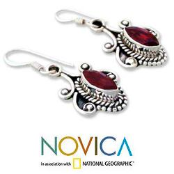 Sterling Silver 'Romantic' Garnet Earrings (India)