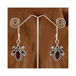 Sterling Silver 'Romantic' Garnet Earrings (India)