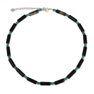 Sterling Silver 'Sky Song' Onyx Choker (Thailand)