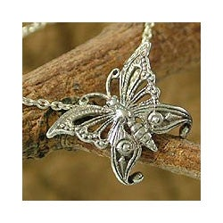 Sterling Silver 'Royal Butterfly' Necklace (India)
