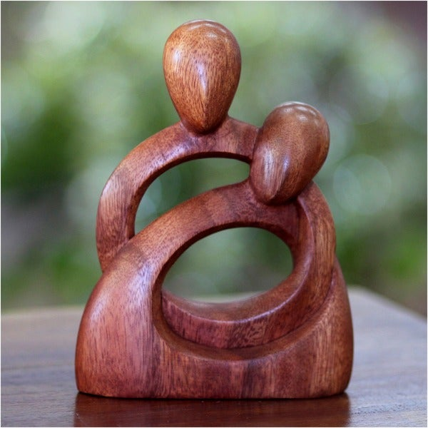 Handcrafted Suar Wood 'Eternity of Love' Sculpture, Handmade in Indonesia