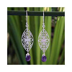 Sterling Silver 'Iris Glamour' Amethyst Floral Earrings (Thailand)