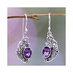 Sterling Silver 'Balinese Breezes' Amethyst Earrings (Indonesia)