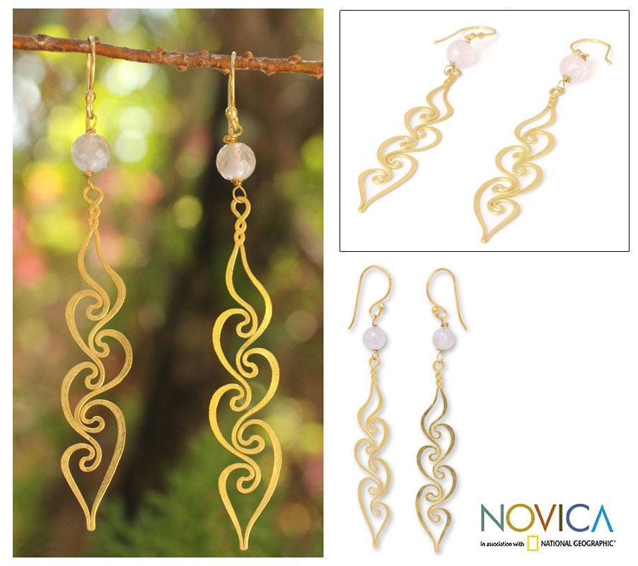 Gold Overlay 'Transcendence' Rose Quartz Floral Earrings (Thailand)