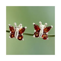 Sterling Silver 'Princess Butterfly' Garnet Button Earrings (India)