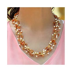 Aventurine 'Afternoon Glow' Pearl Necklace (Thailand)