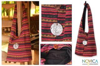 Cotton 'Antique North' Large Shoulder Bag (Thailand)
