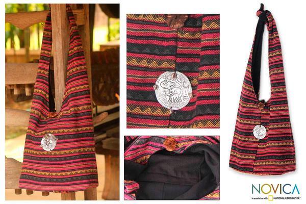 Cotton 'Antique North' Large Shoulder Bag (Thailand)
