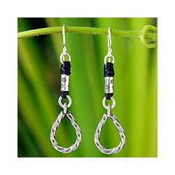 Silver Handcrafted 'Tribal Abstractions' Dangle Earrings (Thailand)