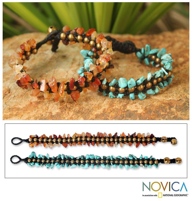 Set of 2 Brass 'Sunny Skies' Multi-gemstone Bracelets (Thailand)