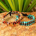 Set of 2 Brass 'Sunny Skies' Multi-gemstone Bracelets (Thailand)