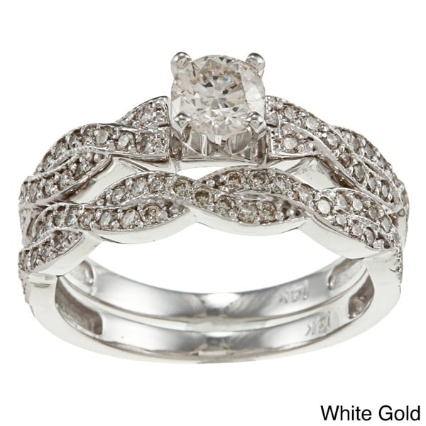Auriya 14k Gold 1ct TDW Round Diamond Bridal Ring Set (H-I, I1-I2)