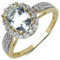 Malaika Gold over Silver 1 1/2ct TGW Aquamarine and White Topaz Ring